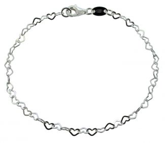 Sterling Silver Ladies Flat Heart Link Charm Bracelet