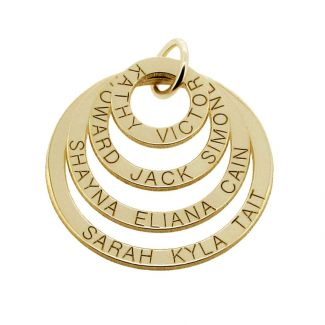 9ct Gold Plated Four Disc Family Pendant Necklace