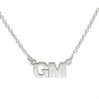 9ct White Gold Block Style Double Initial Pendant