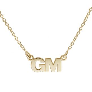 9ct Yellow Gold Block Style Double Initial Pendant