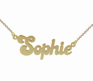 9ct Yellow Gold Plated Banana Split Style Personalised Name Necklace