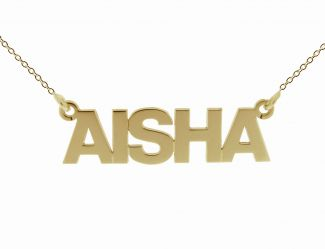 9ct Yellow Gold Plated Block Style Personalised Name Necklace