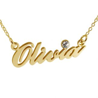 9ct Yellow Gold Carrie Style Personalised Name Necklace With Diamond