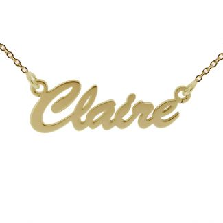 9ct Yellow Gold Script Style Personalised Name Necklace
