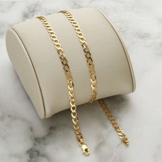 Solid Yellow Gold 3.5mm Curb Chain