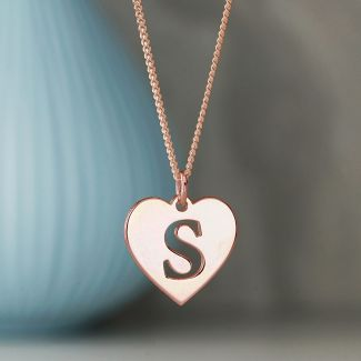 9ct Rose Gold Initial Heart Pendant