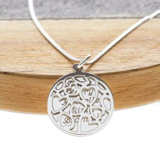 Sterling Silver Hearts Pendants With Personalised Disc & Chain