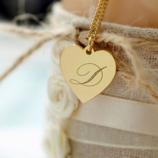9ct Yellow Gold Engraved Initial Heart Pendant