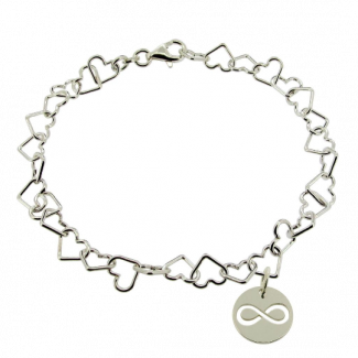 Sterling Silver Light Heart Charm Anklet With Infinity Charm