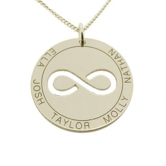Solid White Gold  Personalised Infinity Disc Pendant