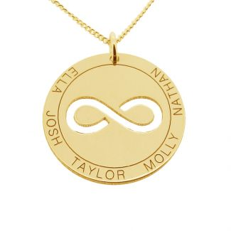 Solid Yellow Gold  Personalised Infinity Disc Pendant