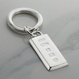 Sterling Silver Large Heavy Custom Hallmarked Ingot Keyring With Optional Engraving