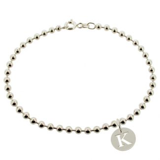 Sterling Silver Bead Ball BraceletWith Initial Disc Charm
