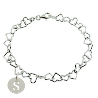 Sterling Silver Light Heart Charm Bracelet With Initial Disc Charm