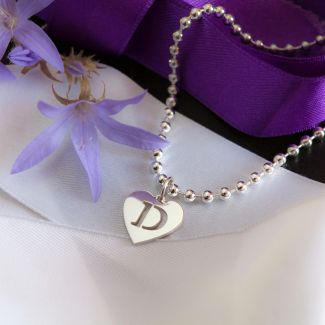 Sterling Silver Charm Bracelet With Heart Initial Charm & Chain Choice
