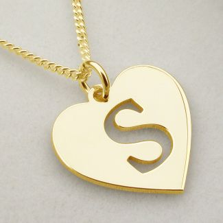 9ct Yellow Gold Initial Heart Pendant