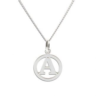 9ct White Gold Round Initial Disc Pendant