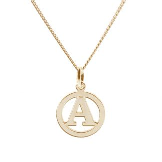9ct Yellow Gold Round Initial Disc Pendant