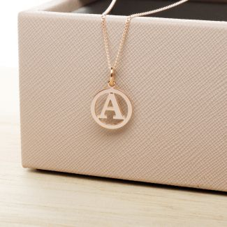 9ct Rose Gold Plated Round Initial Disc Pendant
