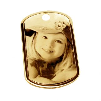 9ct Yellow Gold Large Photo Engraved Dog Tag With Optional Engraving