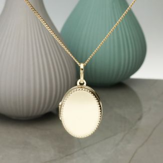Solid Yellow Gold Millgrain Edge Oval Locket With Optional Engraving & Chain