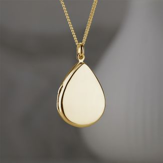 Yellow Gold Plated Tear Drop Locket With Optional Engraving