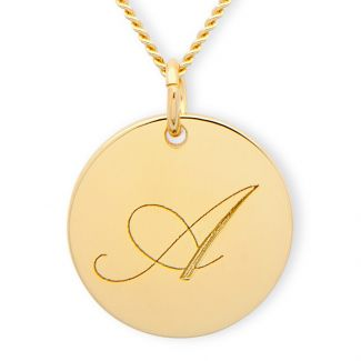Yellow Gold Plated Engraved Inital Disc  And Optional Chain
