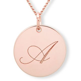 9ct Rose Gold Plated Engraved Initial Disc