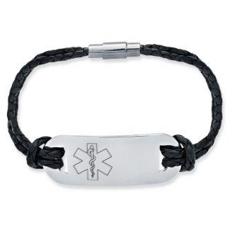 Mens Leather and Stainless Steel Medical Bracelet On Black Leather Bracelet
