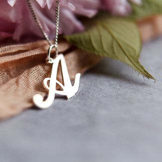 Sterling Silver Script Initial Pendant