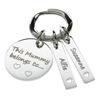 Sterling Silver Mummy Keyring With Personalised Tags