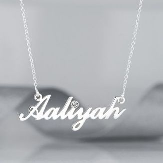 9ct White Gold Carrie Style Personalised Name Necklace With Diamond