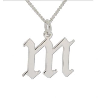 9ct White Gold Gothic Initial & Optional Chain