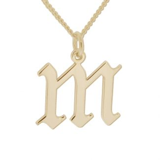9ct Yellow Gold Plated Gothic Initial & Optional Chain