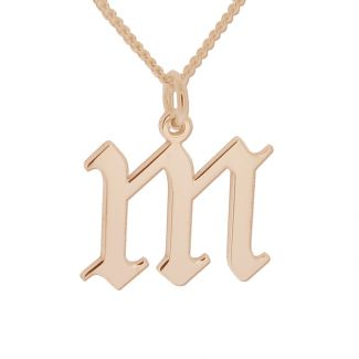 9ct Rose Gold Plated Gothic Initial & Optional Chain
