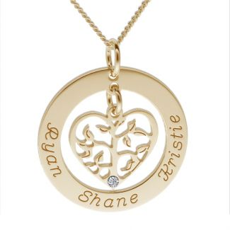9ct Yellow Gold Plated Filigree Heart Tree of Life Family Necklace With Clear Swarovski Crystal
