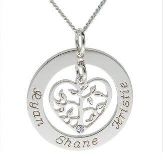 Sterling Silver Filigree Heart Tree of Life Family Necklace With Swarovski Crystal