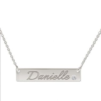 Sterling Silver Name Bar Tag Pendant With Crystal / Diamond