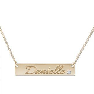 9ct Yellow Gold Name Bar Tag Pendant With Crystal Or Real Diamond