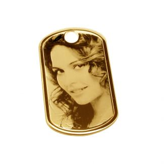 9ct Yellow Gold Photo Engraved Dog Tag With Optional Engraving