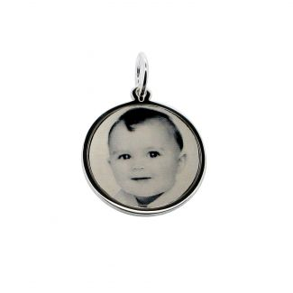 Sterling Silver 19mm Round Photo Engraved Disc Necklace