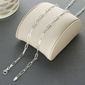 Sterling Silver 3mm Paper Clip Link Chain