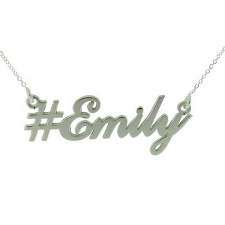 Hashtag Carrie Style Personalised Name Necklace  - Sterling Silver