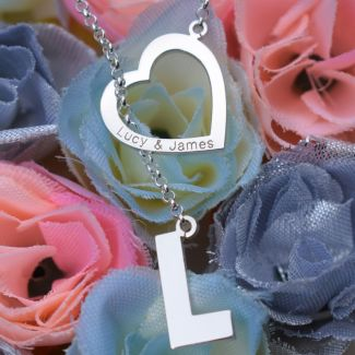 Sterling Silver Heart & Initial Slip Through Necklace