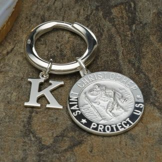Sterling Silver 24mm 3D St Christopher Keyring With Any Initial & Optional Engraving