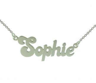 Sterling Silver Banana Split Style Name Necklace