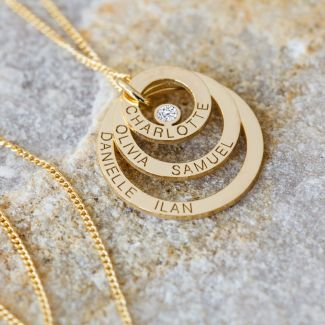 9ct Solid Yellow Gold Engraved Triple Disc Personalised Family Necklace With Diamond