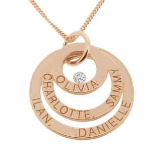 9ct Solid Rose Gold Engraved Triple Disc Personalised Family Necklace With Diamond