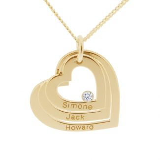 9ct Solid Yellow Gold Engraved Triple Heart Pendant With Diamond