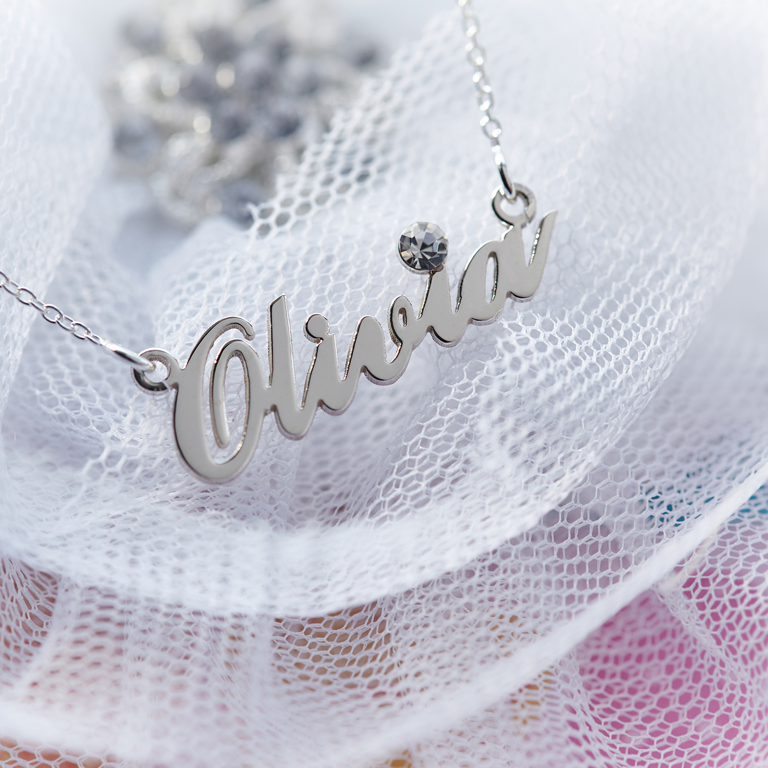8c8de1ebf27db8 Sterling Silver Carrie Style Personalised Name Necklace With Swarovski  Crystal in Gift Box